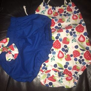 Other - Boutique fruit print romper with blue bloomers